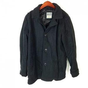 Buckle BKE Mens L Wool Blend Black Peacoat Jacket